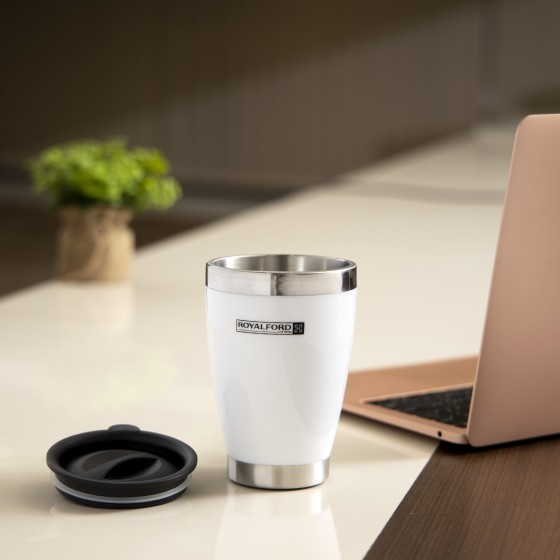 Royalford RF5483WH 400ML Travel Mug - Portable BPA Free, Double Wall & High Grade Stainless Steel Inner | Hot & Cool, Leak-Resistant - Preserves Flavour & Freshness | Ideal Tea Coffee & More