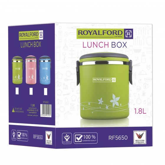 Royalford RF5650 1800ml Lunch Box - Leak Proof & Airtight Lid Food Storage Container - High Quality Stainless Steel Inner, Durable, Non-toxic and Extended Fastening Lid Design - Portable and Dishwasher Safe