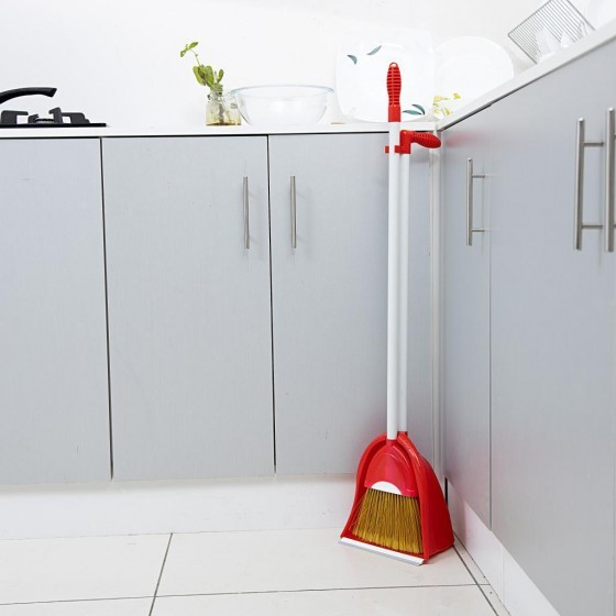 Royalford RF7139 Plastic Broom with Dustpan Set