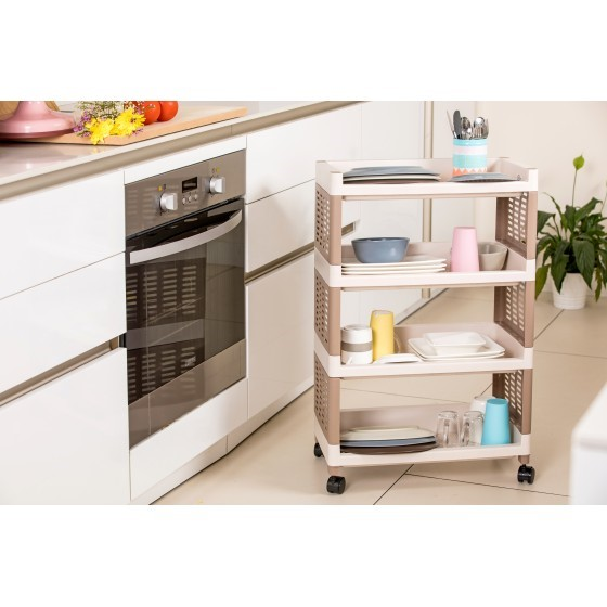 Royalford Four Layer Kitchen Storage Trolley Cart with Storage Baskets and Wheels, Durable and Easy to Assemble Shelf Organisers with Stackable Storage
