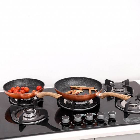 2Pcs Forged Alum.FryPan Set(22x26CM)