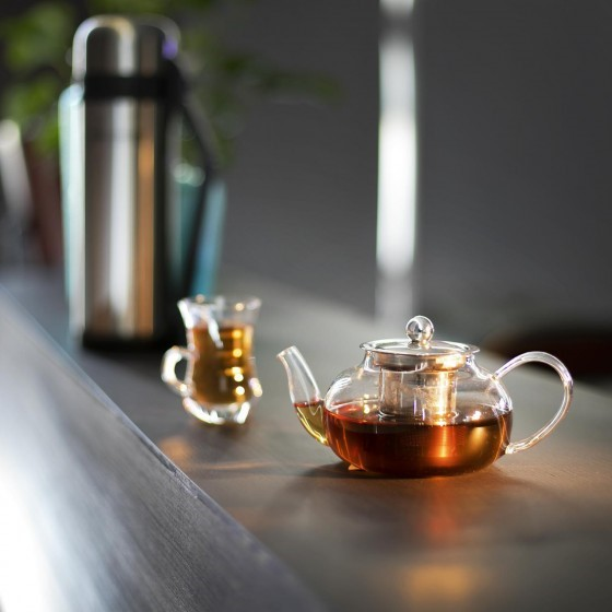 Royalford 600ml Glass Tea Pot – Stainless Steel Lid & Strainer