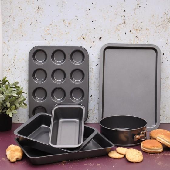Royalford 6 PCS Bakeware Set – Carbon Steel, Oven Safe