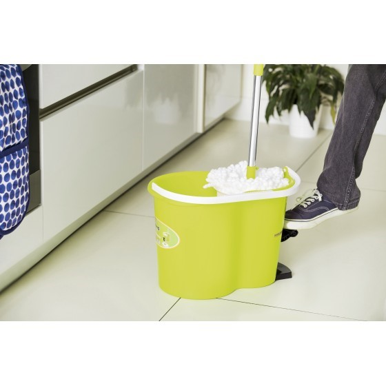Royalford RF4238GR 360 Mop and Bucket Set - Modern Spin 3600 Spinning Mop Bucket| Adjustable Handle, Press Pedal & Dispenser Separates Clean and Dirty Water | Ideal for Marble, Tile, Wooden Floors & More
